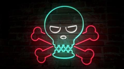 Skull neon icon on brick wall Animation