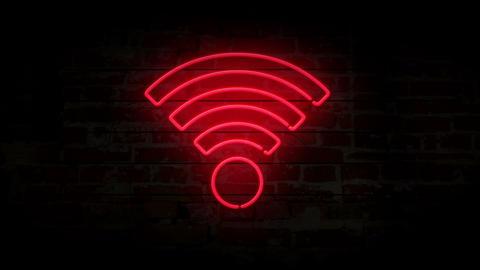 Wi-fi neon symbol on brick wall Animation