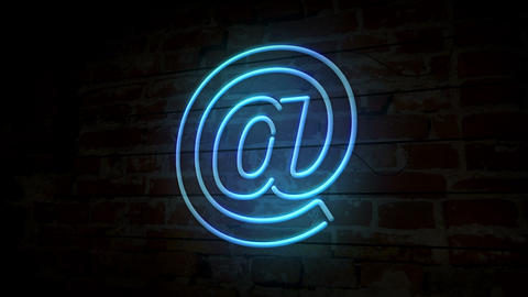 E-mail at neon symbol on brick wall Animation