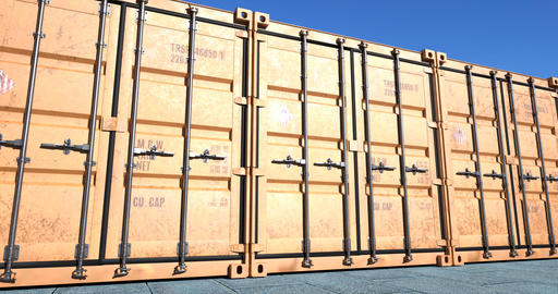 Row of cargo shipping containers Animation