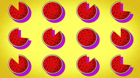 pattern of a drawn watermelon, representation for summer holidays Footage