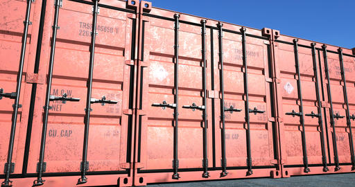 Row of red cargo shipping containers Animation