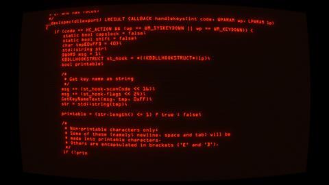 Orange Keylogger C++ Code on Screen Graphic Element Background Animation