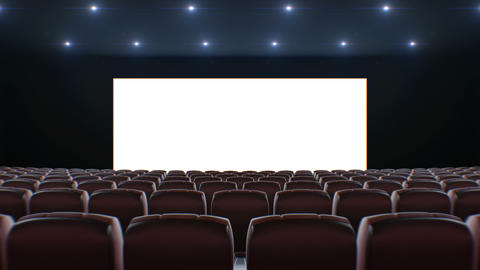 Wide Screen in Cinema Hall Moving Through Over the Chairs. Beautiful 3d Footage