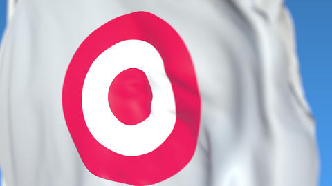 Flag with Target Corporation logo, close-up. Editorial 3D rendering Live Action