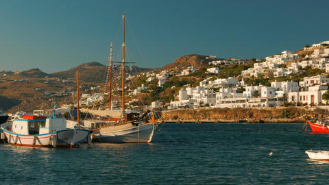 Panoramic View of the Old Port in Mykonos Greece Footage