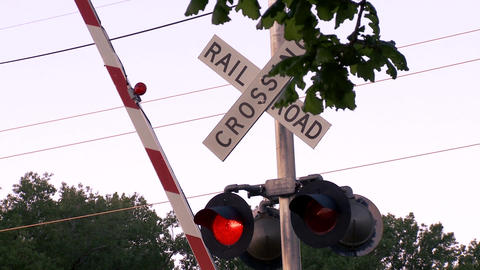 Rising rail road, crossing sign Footage
