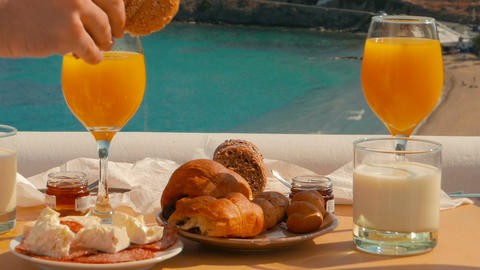 Delicious Breakfast in a Mediterranean Island Footage
