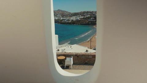 Balcony with a View to the Mediterranean Island of Mykonos Footage