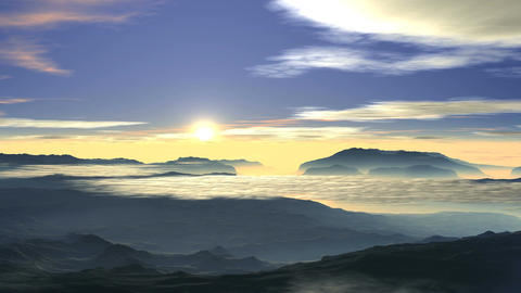 Bright sunrise over the foggy valley Animation
