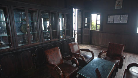 Room In Yersin House Museum with Original Furniture in... Stock Video Footage