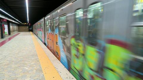 Rome Italy, train leaving Termini metro station Footage
