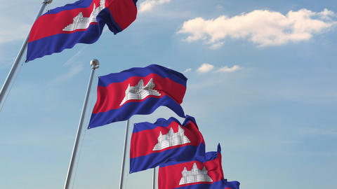 Many waving flags of Cambodia. Loopable 3D animation Footage