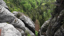Tilt video footage of Saxon Switzerland sandstone rocks near bastei bridge Archivo