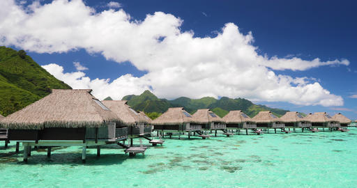 Loop video: Luxury beach travel vacation in Tahiti - Tourist enjoying holiday Footage