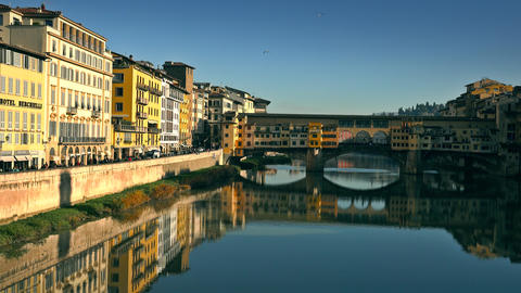FLORENCE, ITALY - DECEMBER 26, 2018. Crowded famous Ponte Vecchio bridge and the Footage