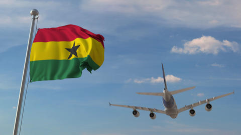 Commercial airplane flying over national flag of Ghana. Ghanaian air Live Action