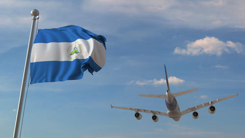 Commercial airplane flying over national flag of Nicaragua. Nicaraguan air Live Action