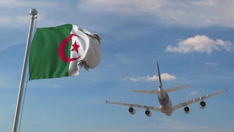 Airplane flying over flag of Algeria. Algerian air transportation related 3D Live Action