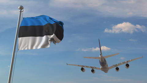 Airplane flying over flag of Estonia. Estonian tourism related 3D animation Live Action