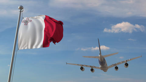 Airplane flying over flag of Malta. Maltese tourism related 3D animation Live Action
