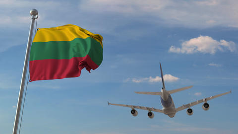 Commercial airplane flying over national flag of Lithuania. Lithuanian air Live Action