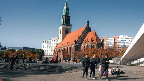 BERLIN, GERMANY - OCTOBER 21, 2018. Marienkirche or St. Mary's Church on Footage