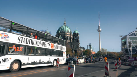 BERLIN, GERMANY - OCTOBER 21, 2018. Busy city street traffic near famous Footage