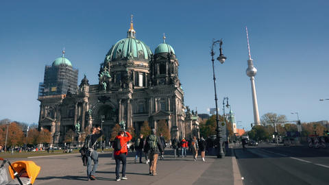 BERLIN, GERMANY - OCTOBER 21, 2018. Berlin Cathedral and TV tower Footage