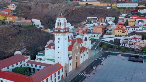 Aerial View of Candelaria - City, Atlantic Ocean and Basilica near the capital Live Action