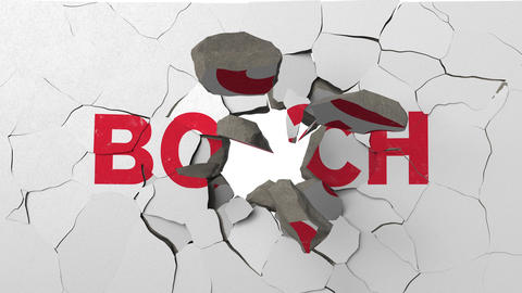 Destroying wall with painted logo of Bosch. Crisis related editorial 3D Live Action