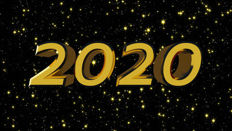 Golden shiny text 2020 with many stars, modern background for New Year holidays Footage