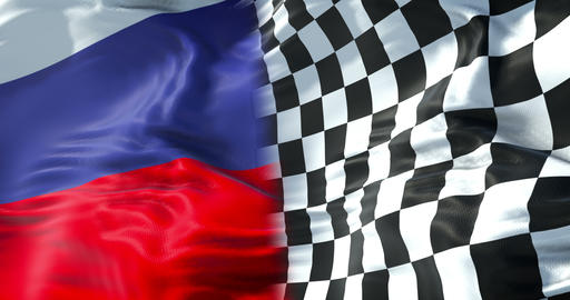 half flags of checkered flag, end race and half russia federation flag, russian sport formula one Footage