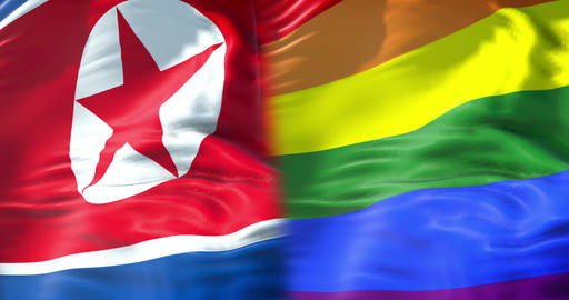 half waving colorful of gay pride rainbow flag and half north korea flag waving, civil right flag in Footage