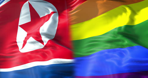 half waving colorful of gay pride rainbow flag and half… Stock Video Footage