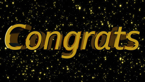 Golden shiny text Congrats with many stars, modern background for holidays, 3d Footage