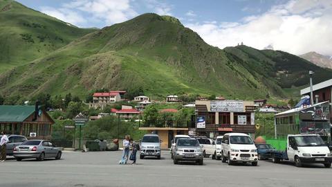 stepantsminda town near kazbek mountain georgia, turistic place Footage