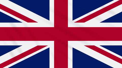 Great Britain flag waving cloth, ideal for background, loop Animation