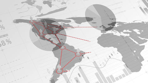 Simple person icons located on world map connected by lines and demographic data on the background Animation
