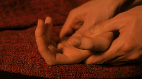 Masseur doing hand massage for female client Footage