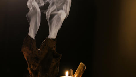Incense stick burning with smoke Live Action