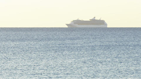 Time lapse cruise ship sailing across the Mediterranean sea horizon with clear Live Action