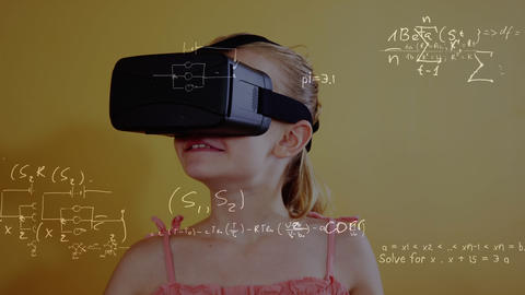 Girl using virtual reality headset Animation