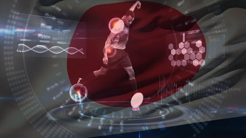 African American rugby player kicking the ball while interface analysis players posture and health w Animation