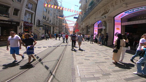 Pedestrian Street in Istanbul Live Action