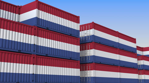 Container terminal full of containers with flag of the Netherlands. Dutch export Live Action