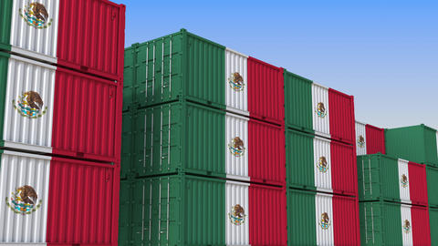 Container terminal full of containers with flag of Mexico. Mexican export or Live Action