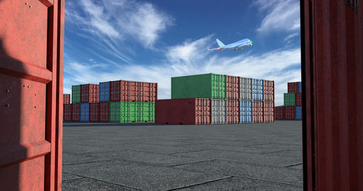 Cargo terminal with a lot of shipping containers and taking off airplane Animation
