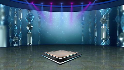Entertainment TV Studio Set 64 - Virtual Green Screen Background Loop Footage
