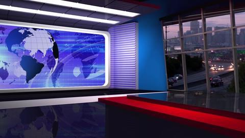 News TV Studio Set 314- Virtual Green Screen Background Loop Footage